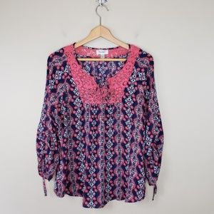 Dress Barn | Navy & Pink Floral Blouse